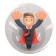 Flying Superhero Businessman Character