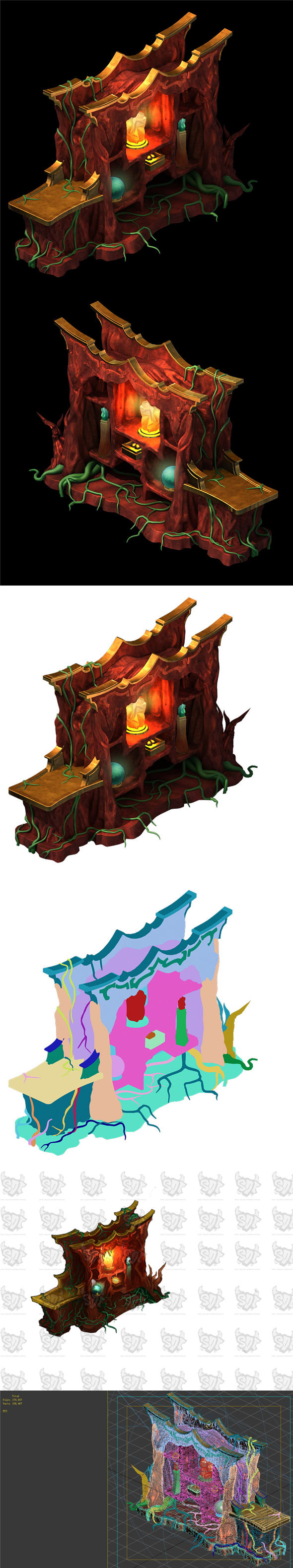 Game model - furniture cabinet disillusion Ming fire grid - 3DOcean Item for Sale