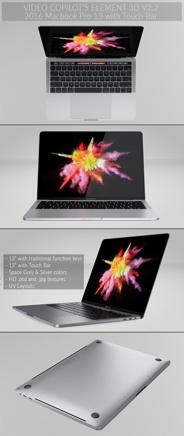 Macbook Pro 13 - Element 3D - 3DOcean Item for Sale