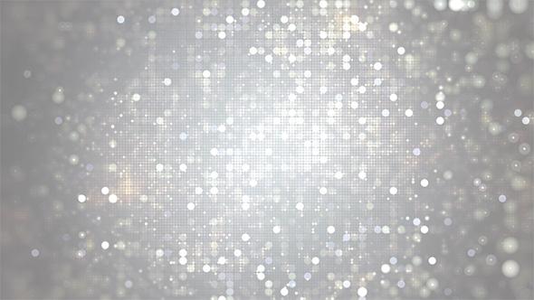 Glittering Silver Bokeh Dots Circle Background