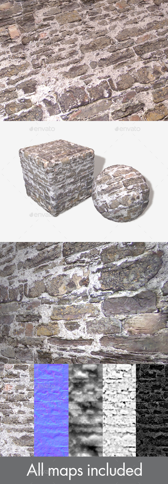 Messy Stone Wall Seamless Texture - 3DOcean Item for Sale