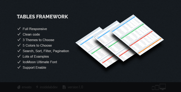 Tables Framework - CodeCanyon Item for Sale