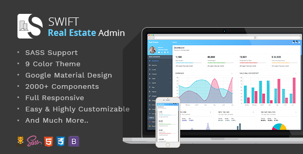 Swift Genuine Estate – Bootstrap/Material Dashboard Template (Admin Templates)