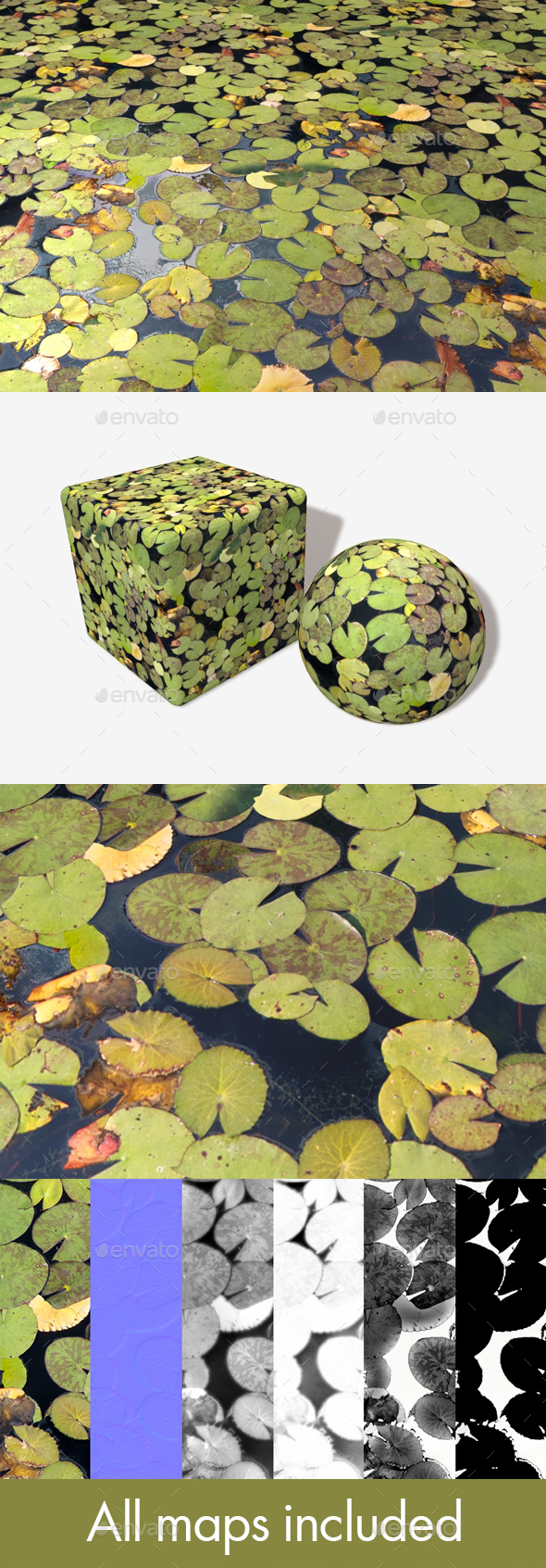 Lily Pad Pond Water Seamless Texture - 3DOcean Item for Sale