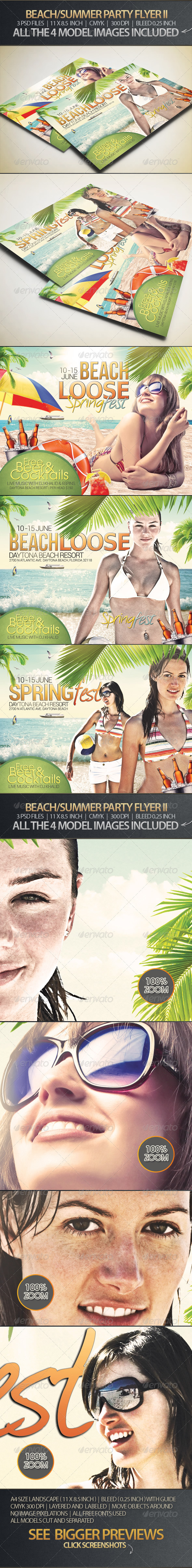 Beach, Spring or Summer Party Flyer II - Clubs & Parties Events