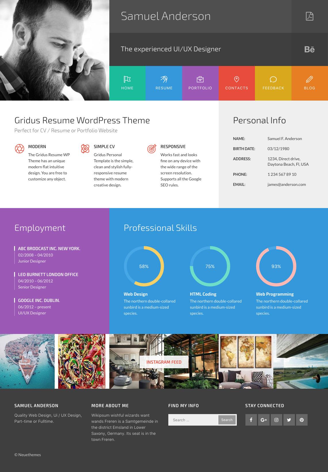 gridus vcard cv resume wordpress by neuethemes themeforest 01 preview jpg