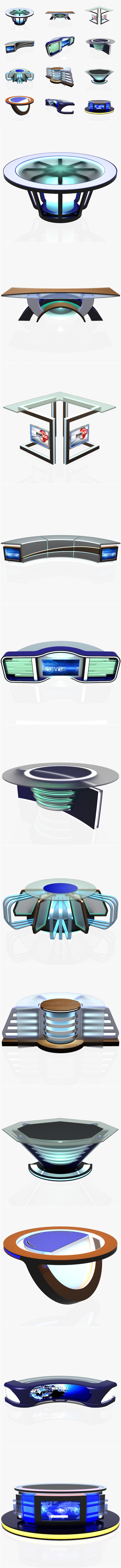 Virtual Tv Studio News Desk Collection (12 Pieces ) - 3DOcean Item for Sale