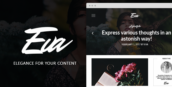 Фото Шаблон Wordpress платный  EVA - Elegant WordPress Theme for Creating Stories — previewEva.  large preview