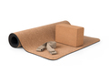 Yoga Cork Mat Block and Strap  Eco Friendly on White Background