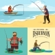 Flat Fisherman Hat Sits on Shore with Fishing Rod