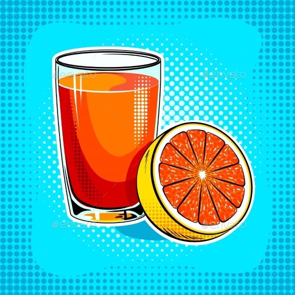 Fresh Juice Pop Art Vector Illustration