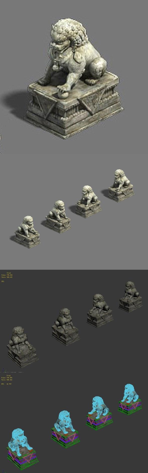 Medium city - stone lion - 3DOcean Item for Sale