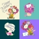 Set of Happy Mothers Day Cards with Greeting Text