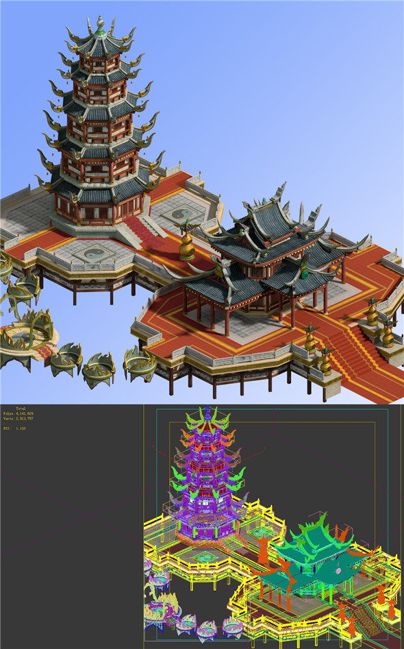 Game Model - Chinese Ancient Architecture - 3DOcean Item for Sale