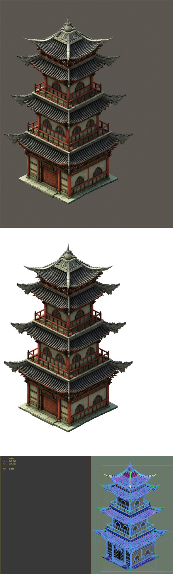 Chinese ancient tower - 3DOcean Item for Sale