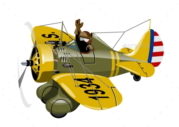 Cartoon Retro Fighter Plane