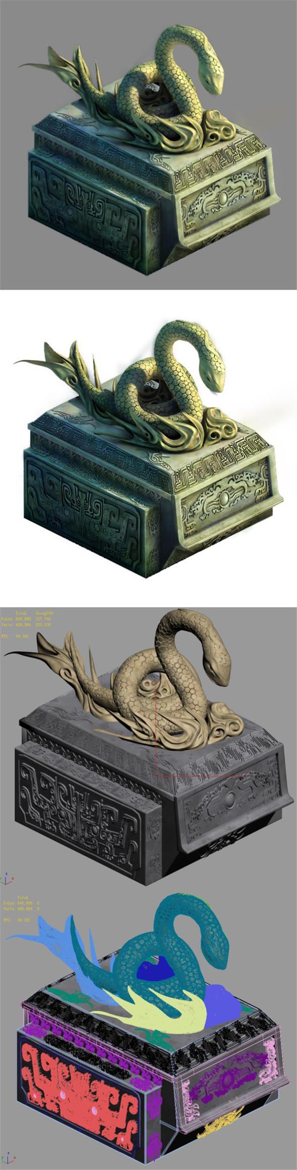 Decorative stone - snake - 3DOcean Item for Sale