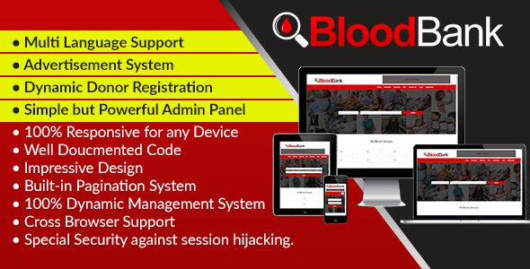 BloodBank – Dynamic Blood Bank Management Syestem and Directory Script (PHP Scripts)