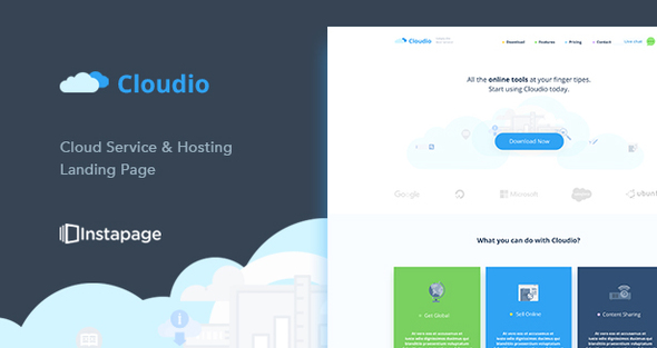 Cloudio Hosting Instapage Template