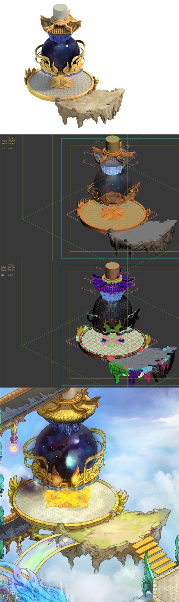 Game Model - Bi La City - Royal Palace Partial 02 - 3DOcean Item for Sale