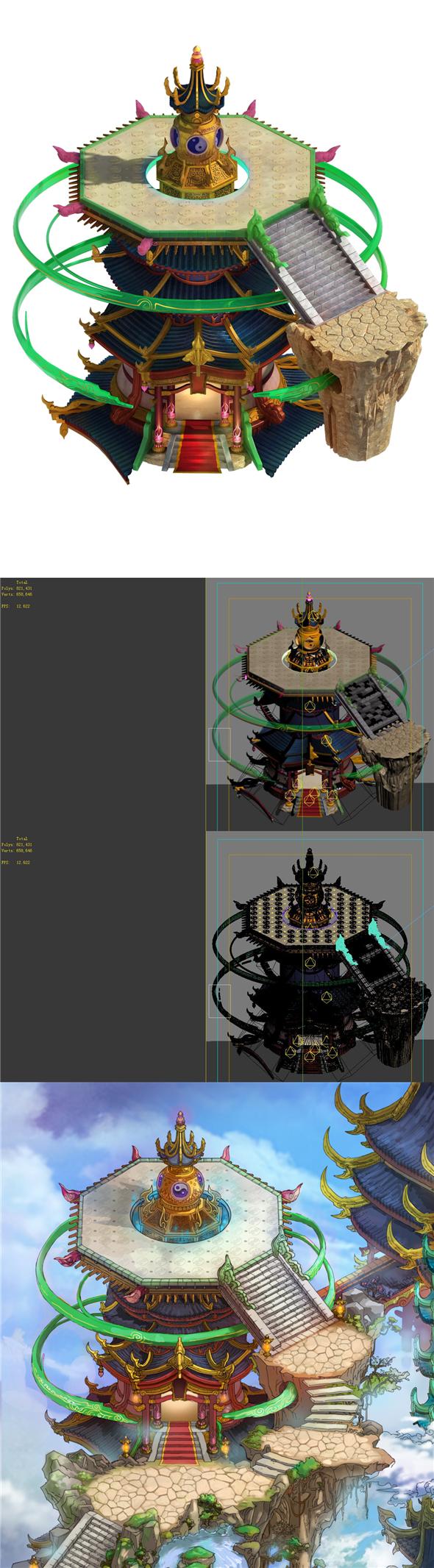Game model - Bi La City - Palace sightseeing platform - 3DOcean Item for Sale