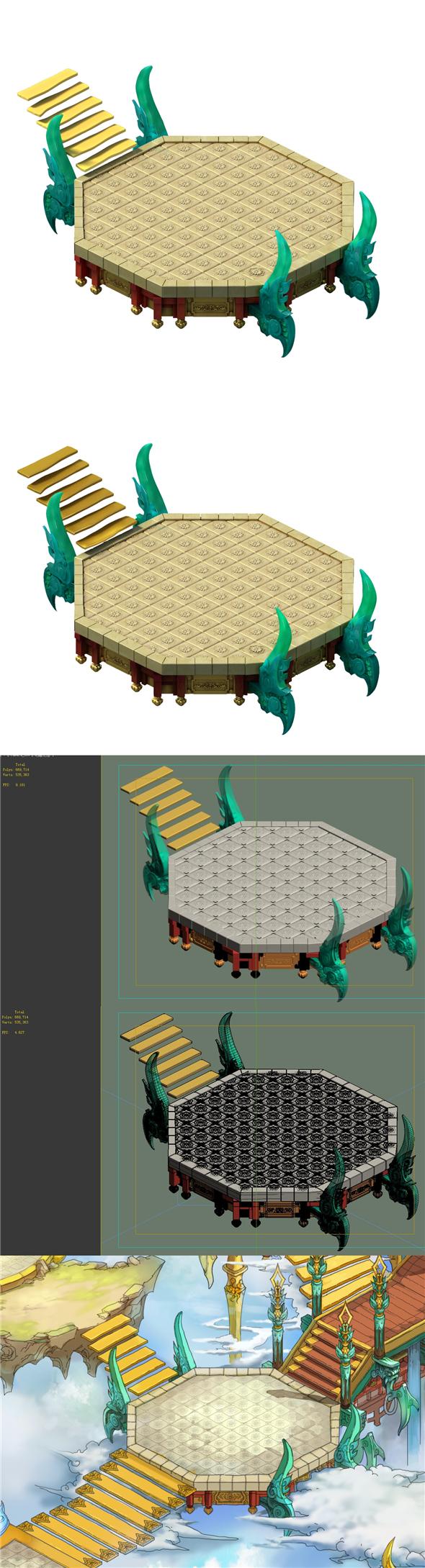 Game model - Bi La City - the palace steps - 3DOcean Item for Sale