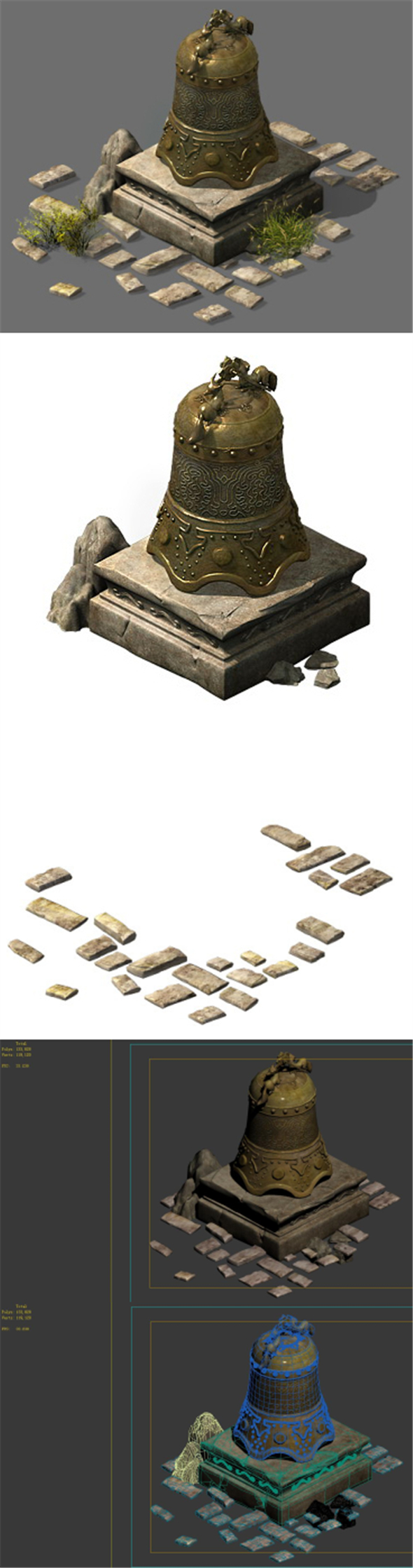 Broken bronze bells - 3DOcean Item for Sale