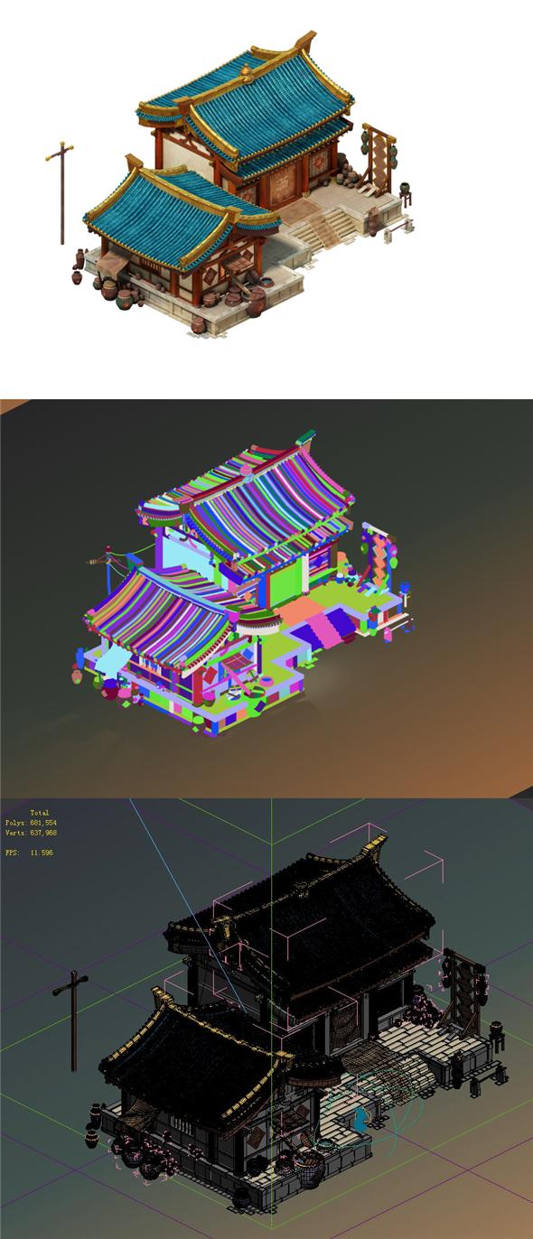 City Building - Wine Shop - 3DOcean Item for Sale