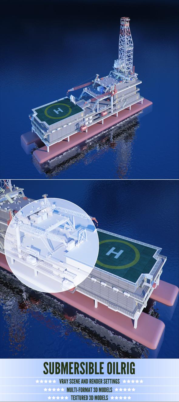 Submersible Oilrig - 3DOcean Item for Sale