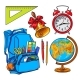 Backpack Packed with School Items, Alarm Clock