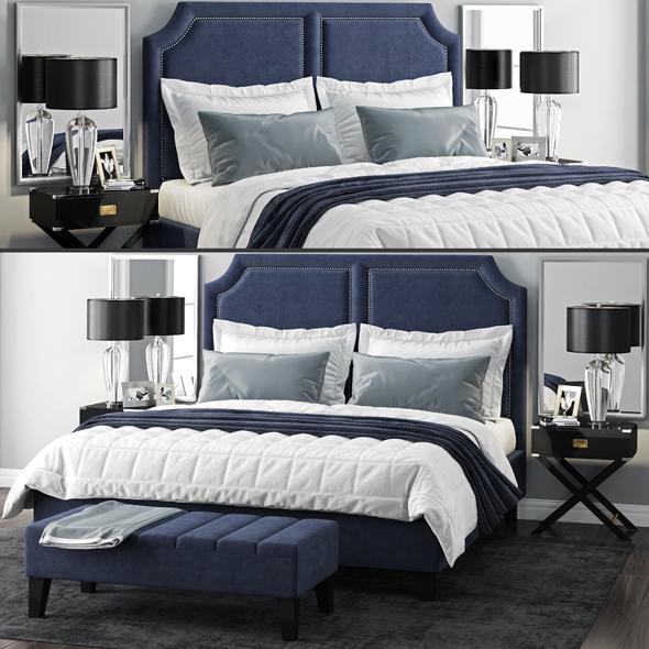 Sanibel Queen Upholstered Bed - 3DOcean Item for Sale