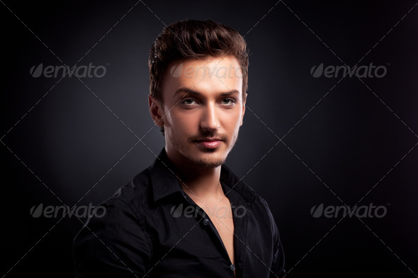 Young man's portrait. Close-up face. - Stock Photo - Images