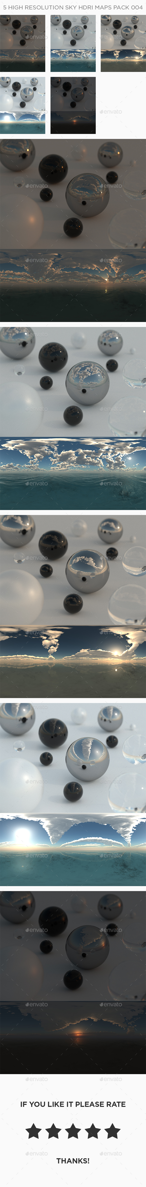 5 High Resolution Sky HDRi Maps Pack 004 - 3DOcean Item for Sale