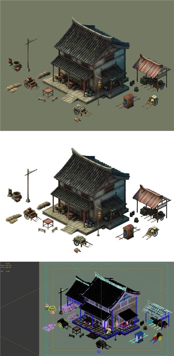 Game Model - City - Inn Hotel - 3DOcean Item for Sale
