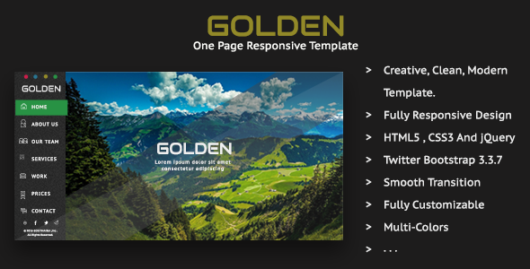 Golden - One Page Responsive Template