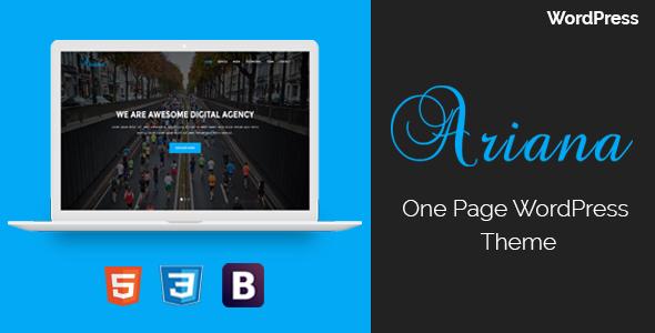 Фото Премиум шаблон Wordpress  Ariana - Digital Agency One Page WordPress Theme — theme preview.  large preview