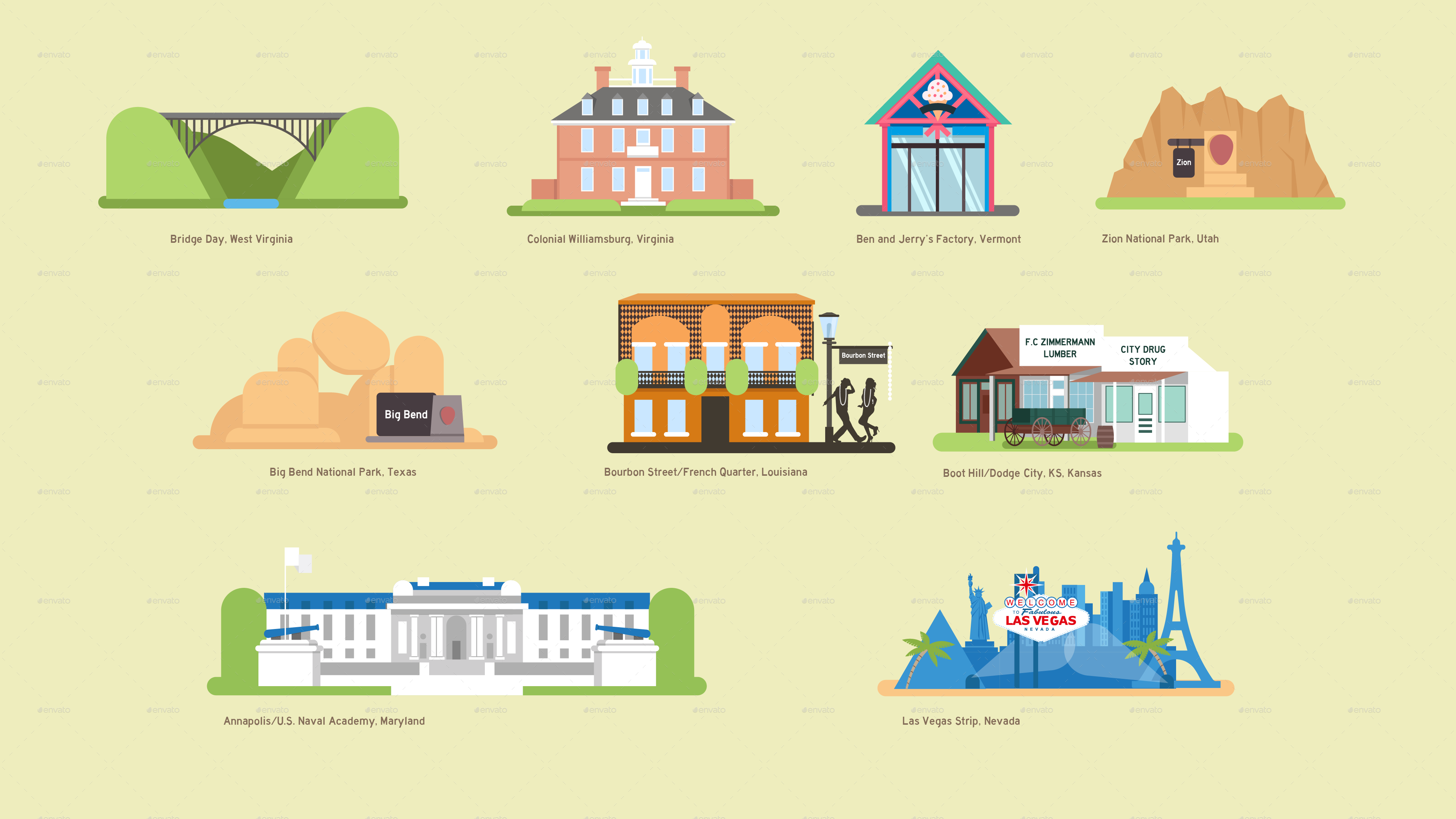 USA Vector Map And US Landmark Icons By DEMG GraphicRiver - Usa map and landmarks