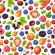 Colorful Ripe Forest Berries Seamless Pattern
