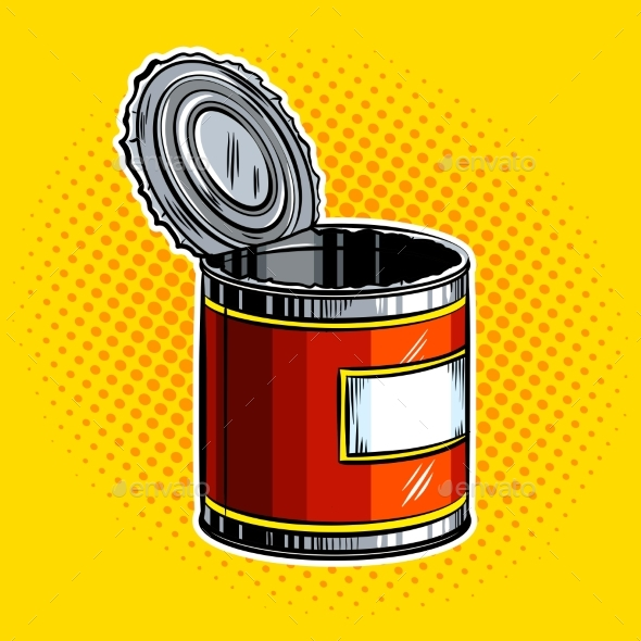 Open Tincan Pop Art Vector Illustration