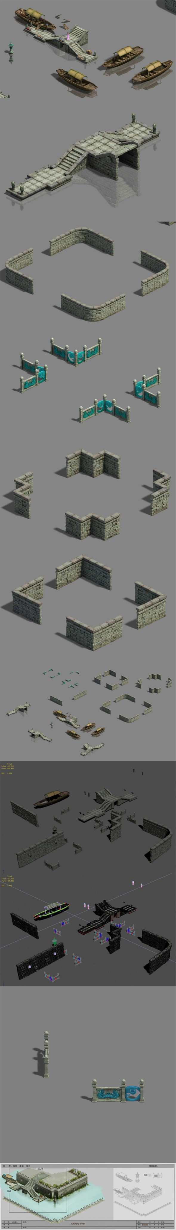 Large city - river fence - dock - 3DOcean Item for Sale