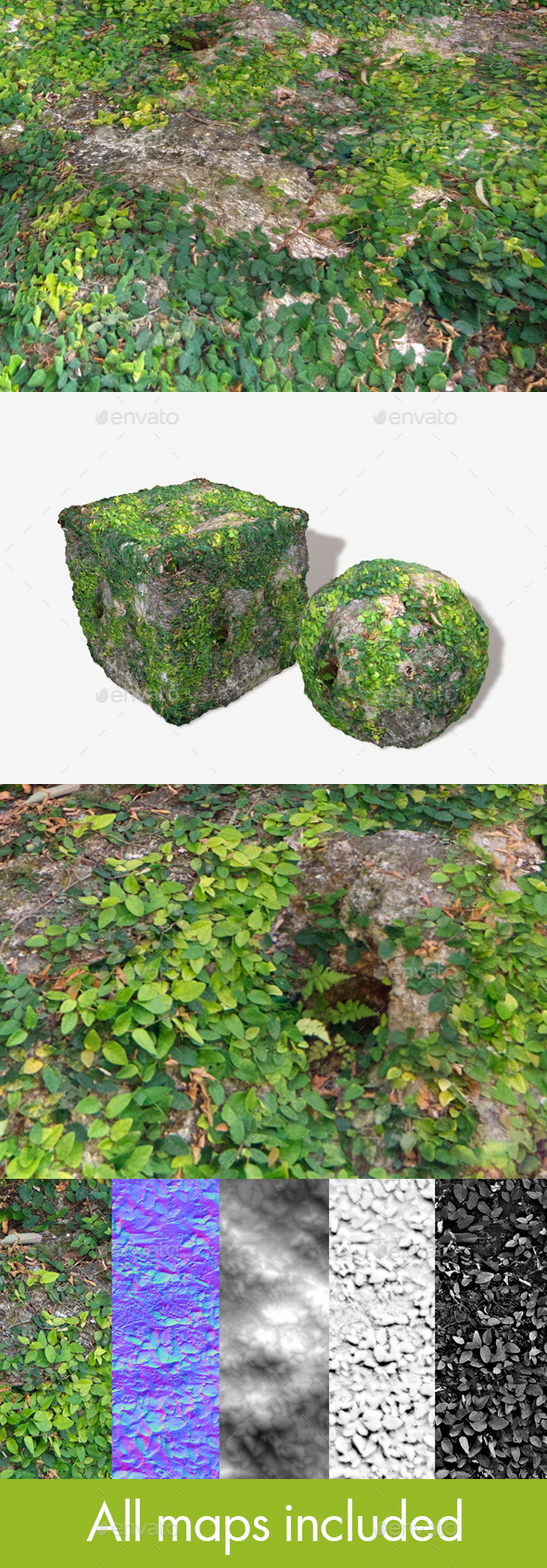 3DOcean Vine Covered Rock Seamless Texture 19767501
