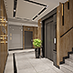 Apartments building Entrance Hall area Foyer Lobby with elevator interior design