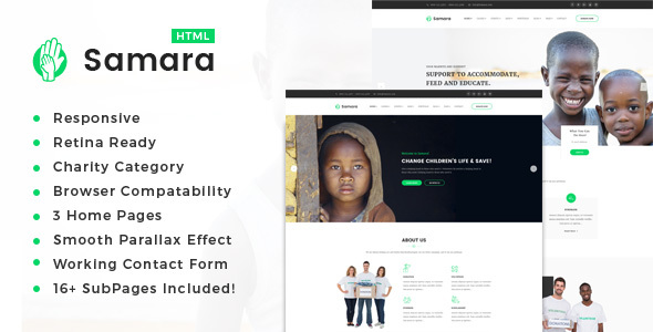 Image of Samara || Responsive HTML Template for Charity & Fund Raising