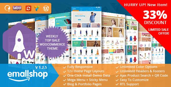 Фото Премиум шаблон Wordpress  EmallShop - Responsive Multipurpose WooCommerce Theme — 01 preview.  large preview