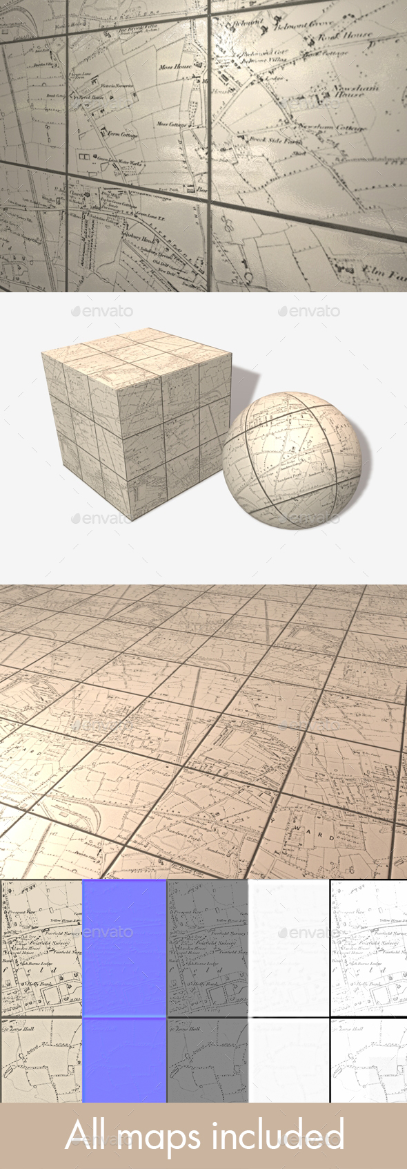 Map Tiles Seamless Texture - 3DOcean Item for Sale