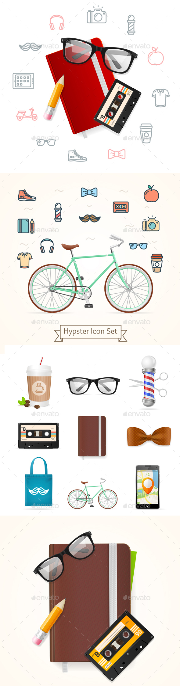 Realistic Hipster Style Icon Color Set