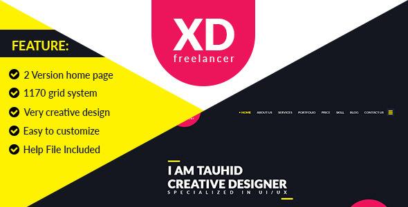 XD Freelancer- Personal/Agency Portfolio One Page PSD Template