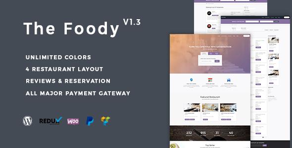 Фото Wordpress премиум тема  Thefoody - Multivendor Multiple Restaurant WordPress Theme — preview.  large preview