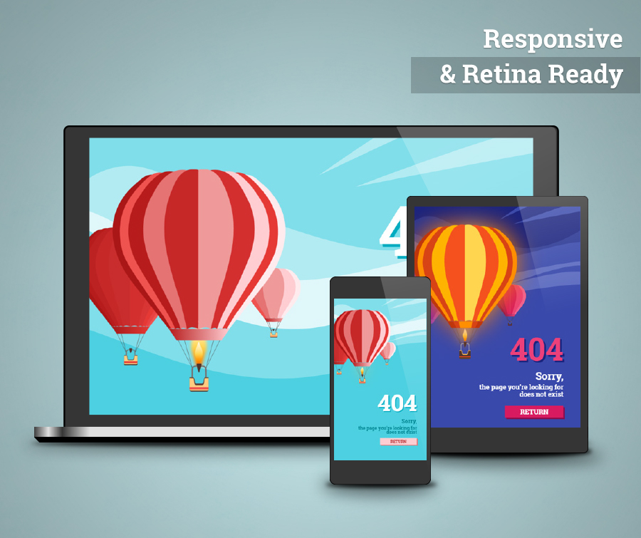 AirBalloon - Animated Responsive Error 404 and Coming Soon HTML5 Template