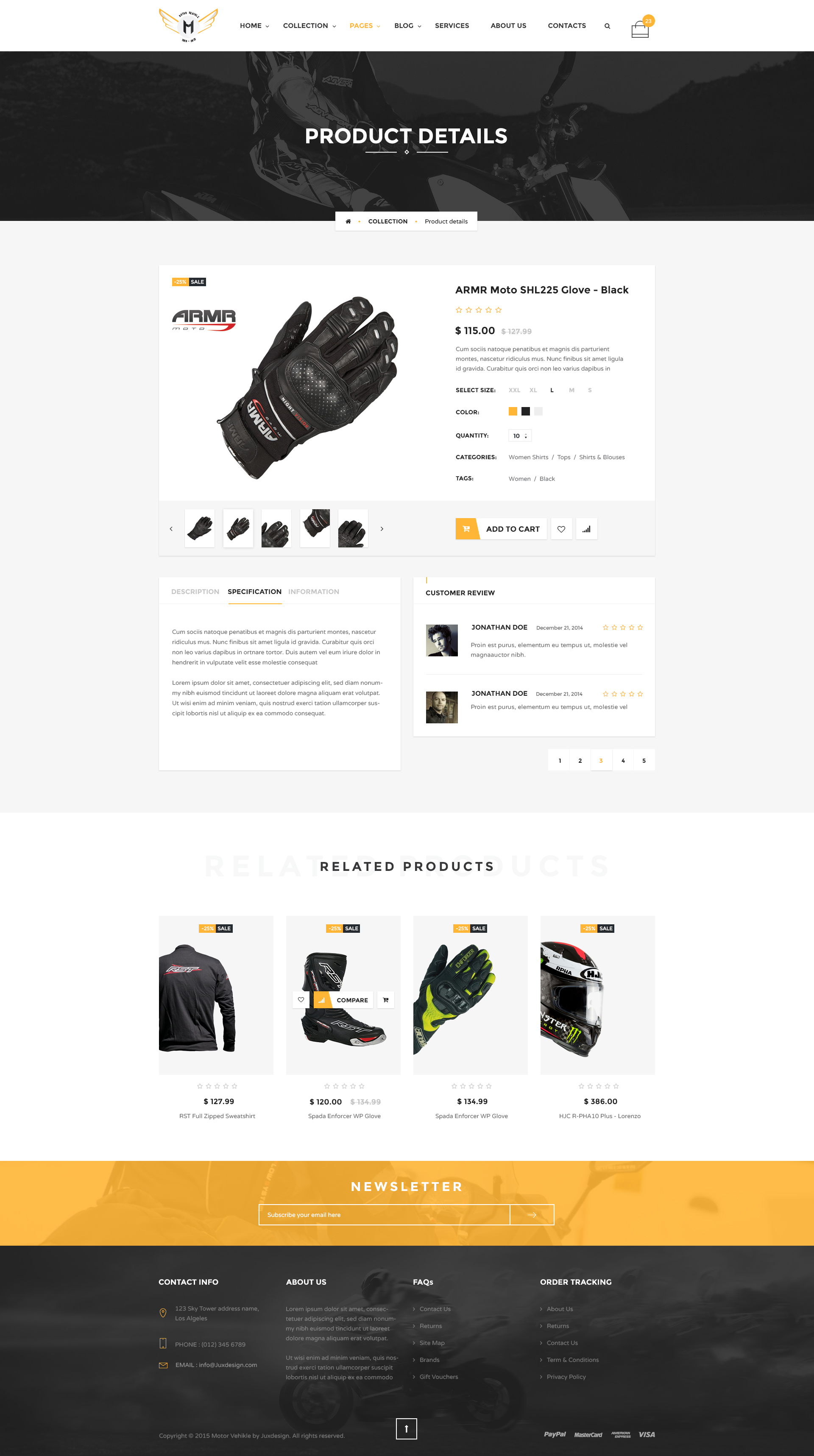 free html product page template - motor vehikal motorcycle online store html template by